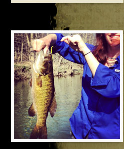 "Smallmouth Bass caught with ""Lightnin' Bug"" Fish Food Worm"
